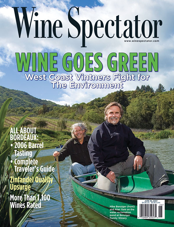 Wine Spectator's June 30, 2007, issue on wine going green