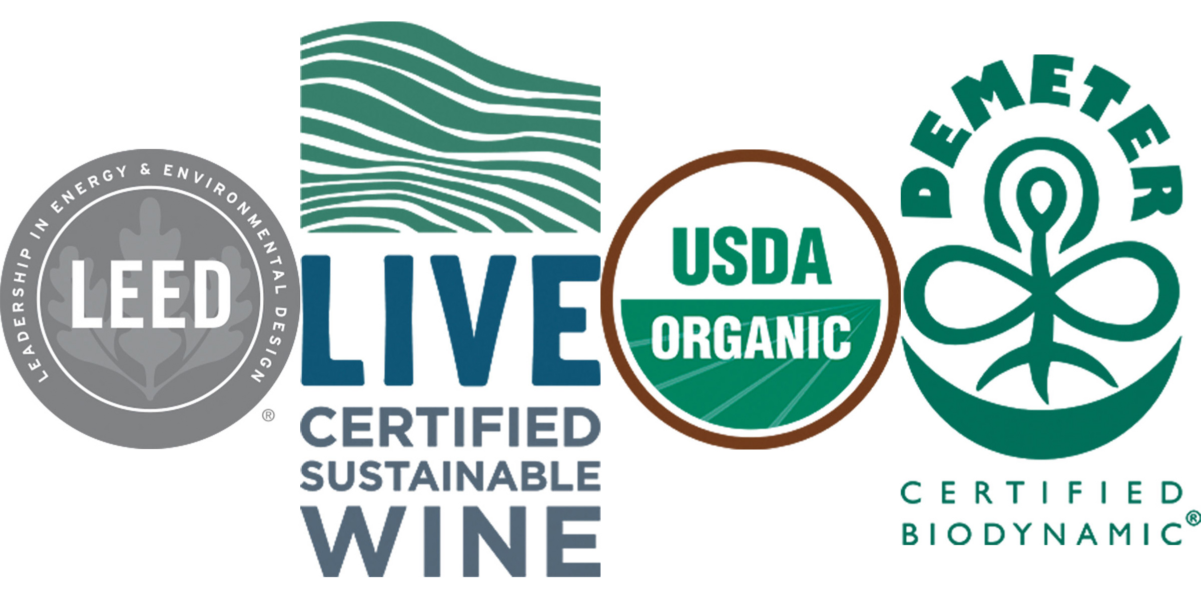 Logos for LEED, LIVE, National Organic Program and Demeter biodynamic certifications