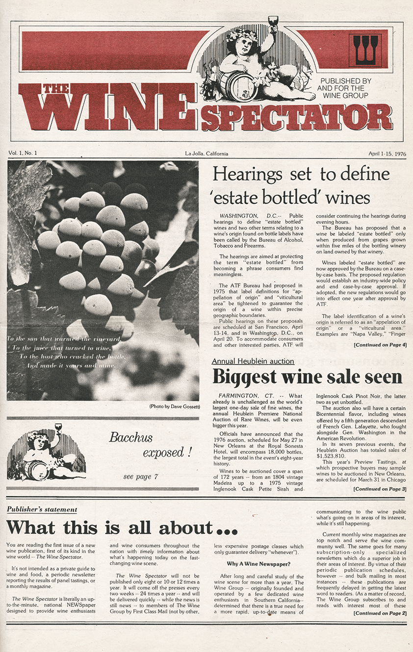 Debut issue of Wine Spectator: April 1–15, 1976