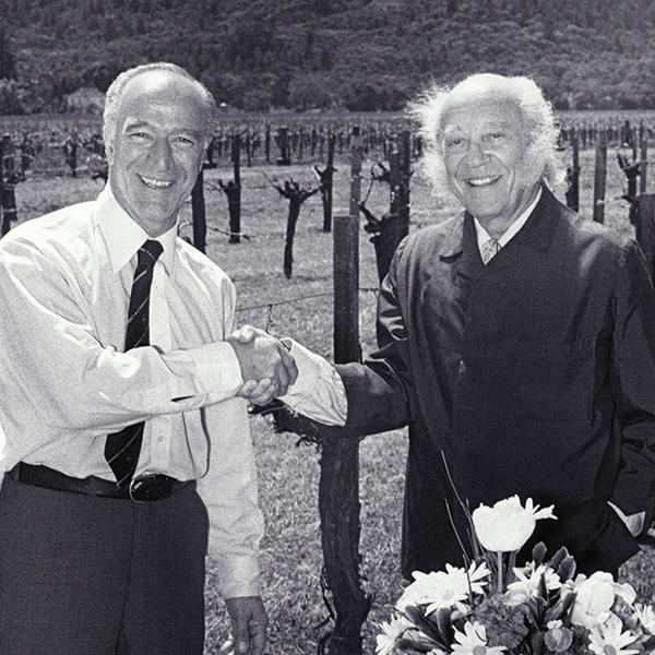 Robert Mondavi (left) and Baron Philippe de Rothschild