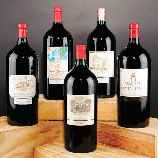 1982 Bordeaux bottles