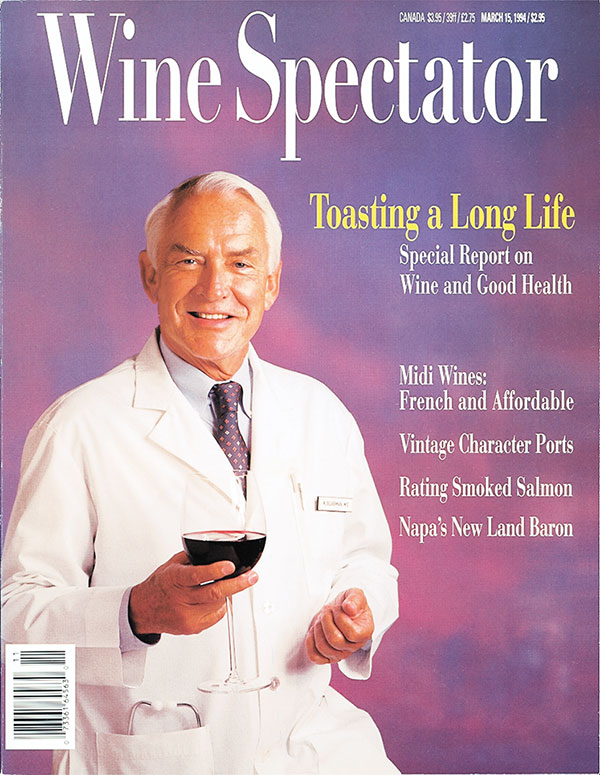 Wine Spectator's March 15, 1994, issue about wine and health