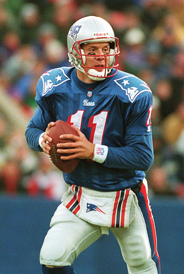 Quarterback Drew Bledsoe playing for the New England Patriots