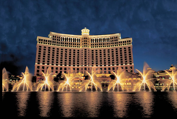 The fountain in front of Bellagio hotel and casino