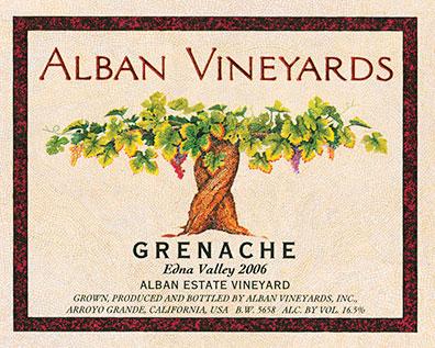 Label for Alban Vineyards Grenache Edna Valley 2006