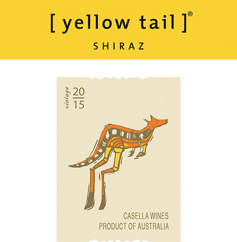 Label for Yellow Tail Shiraz 2015