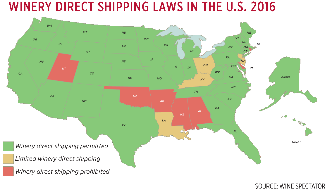 A map of winery direct shipping laws by U.S. state in 2016